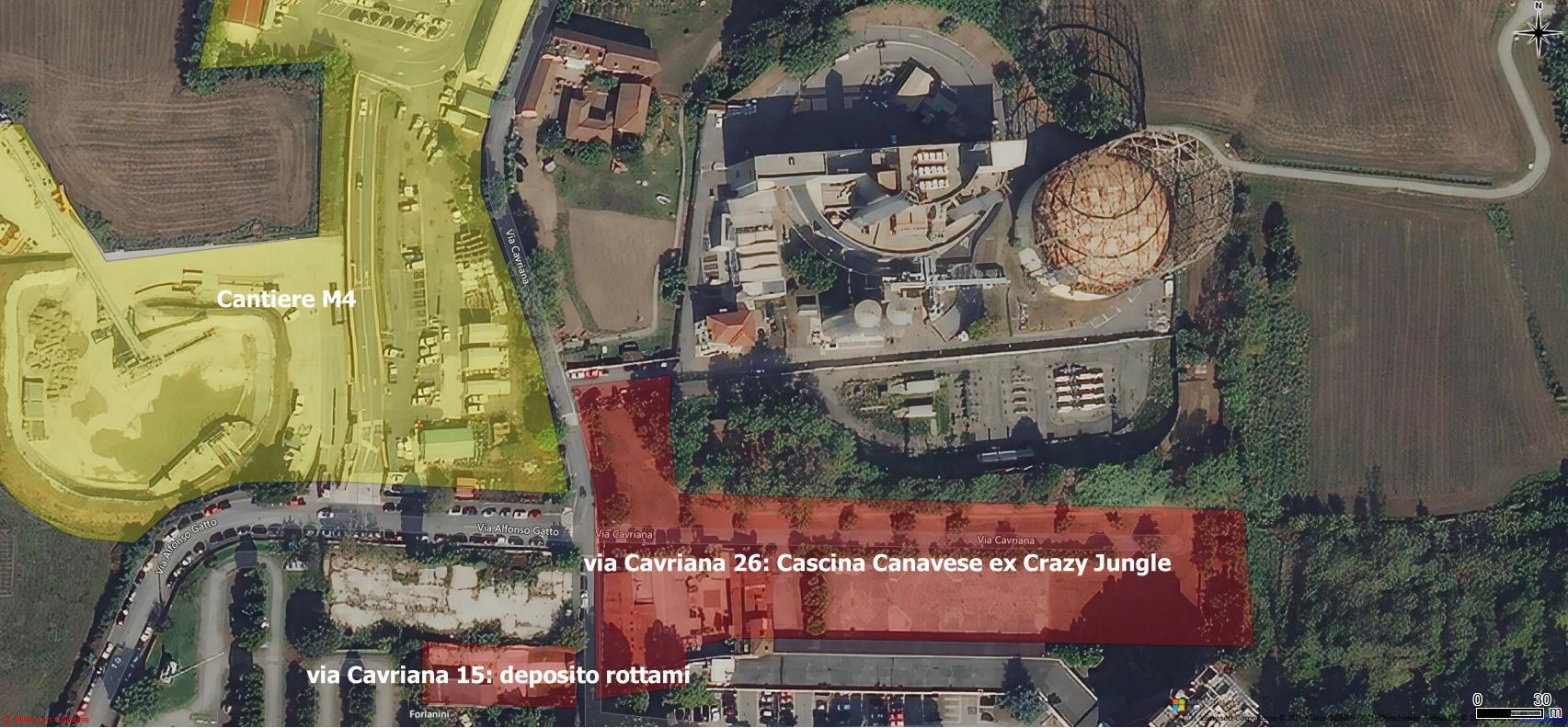 Evidenziazione delle aree citate (in rosso) realizzata con QGIS con sfondo immagine aerea Bing (GT)